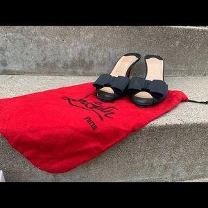 Vintage Christian Louboutin Black Satin Heels